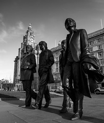 Beales Sculpture (stephenbryan825) Tags: bronze liverpool buildings statues wideangle threegraces johnlennon ringostarr fab4 pierhead paulmccartney georgeharrison royalliverbuilding 3graces portofliverpoolbuilding selects beatlesstatue