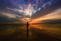 Another Place, Another Photo, Another Sunset..... (redbankmoz) Tags: seascape landscape crosby antonygormley anotherplace rivermersey