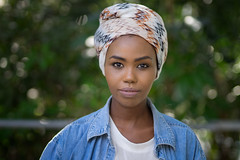 Faces of Queensland - Ayana (#256) (Stelex) Tags: blue portrait girl female scarf pretty bokeh african headwrap denimshirt