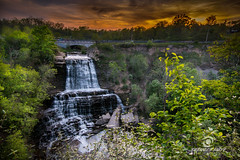 Albion Falls Under a beautiful sunset (Spencer Smye Photography) Tags: sunset copyright photography landscapes all gorgeous waterfalls rights cascades spencer reserved hamiltonontariocanada waterflowing albionfalls travelon cityofwaterfalls smye hamiltontourism ontariotravels