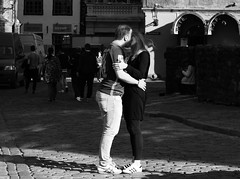 This kiss (is hidden by the shadow) (mkorolkov) Tags: street city light shadow people blackandwhite monochrome outdoors kiss candid streetphotography fujifilm xe1 stphotographia xc50230
