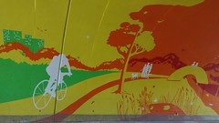 Colourful Cyclist (Georgie_grrl) Tags: friends toronto ontario bicycle mural cheery bright photographers tunnel social colourful outing rainbowbridge torontophotowalks topwaged