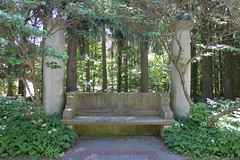 Cranbrook (Tricia Lynne) Tags: stone forest bench woods michigan cranbrook bloomfieldhills michiganbenchproject