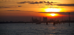 Return from Padua (Princess Ruto) Tags: venice sunset shadow red summer italy orange sun water yellow clouds dark boat dusk lagoon venezia nofilter