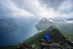 Langenestinden (Johan Kistrand) Tags: mountains alps nature rain weather norway clouds norge view hiking fjord sunnmre hjrundfjorden sunnmrsalpane sylvkallen langenestinden