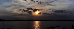 Sun and Clouds Panorama (markchevy) Tags: sunset red sea panorama orange clouds landscape evening bay photo newjersey interesting colorful pix graphic dusk nj picture scene atlantic vista neptune pictorial sharkriver markchevy omdem10