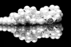 Pearls (Allison Faust Branson) Tags: blackandwhite white black reflection monochrome nikon jewelry pearls 60mm tamron nikond600