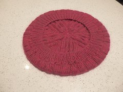 Raspberry beret 2 (frances bell) Tags: knitting blocked raspberry beret