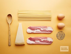 Carbonara ingredients on yellow background (Bring life to your space. Decor Products) Tags: wood food classic yellow cheese pepper bacon italian shot sauce background traditional spice egg spoon pasta spices ingredients spaghetti overlook making parmesan savory carbonara pancetta preparing tidy uncommon guanciale unusial