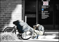 5332. On the streets (Di's Eyes) Tags: street blackandwhite bike candid homeless steps sleeeping