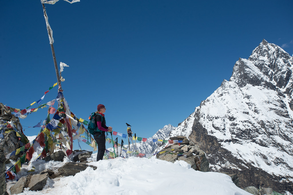 Claire above Kyanjin Gompa