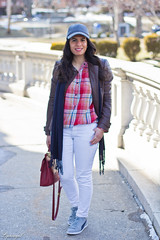 Jachs plaid shirt, white denim, grey trainers, leather jacket-4.jpg (LyddieGal) Tags: red brown white hat fashion scarf vintage grey spring outfit coach navy style denim wardrobe puma plaid wallis thrifted outerwear rocksbox jachs weekendstyle