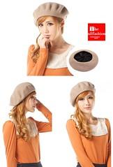 HF-0004 – หมวกแฟชั่นทรงไบเล่ผ้าวูลสีพื้นใส่ได้ทุกโอกาสปิดหูกันหนาวได้เก๋ไก๋น่ารัก