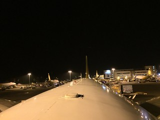 HKG/VHHH cargo apron view at night from the B744F