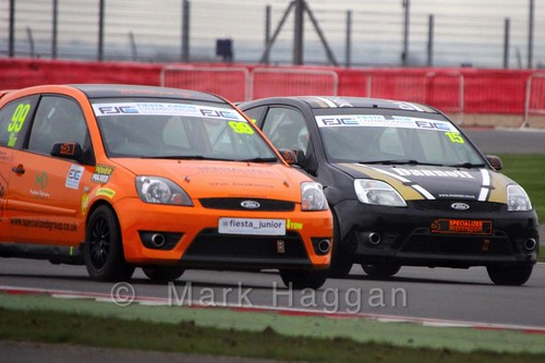 Alex Tait and Sikander Hussain in the BRSCC Fiesta Junior Championship at Silverstone, April 2015