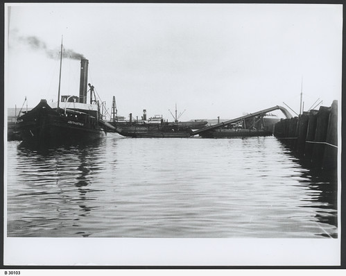 "Suction dredge ""South Australian"" at work at South Australian Company's new dock. - Photograph courtesy of the State Library of South Australia"