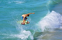 Cameron Gruwell airborne at the Wall (cjbphotos1) Tags: ocean california beach sports waves action lajolla wipeout skimboarding thewall boarding skimming