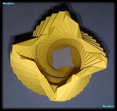 Twisted Column Paper Four-pointed Star Base (NeoSpica / NeoLiveArt) Tags: light art lamp paper spiral star design artwork origami engineering structure cutting kirigami swirl column lantern fold papier twisted tessellation cuts corrugation folding papercraft  pleat  papierfalten twistedcolumn