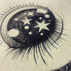 Still drawing (Anita Mejia) Tags: eye illustration pen ink paper stars drawing draw universe anitamejia
