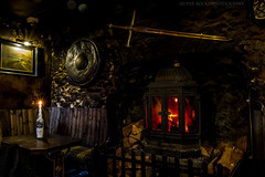 A Warm Welcome? (Celebrating over 2 million views. Thank you) Tags: winter bar table fire scotland bottle pub warm candle wine logs sword welcome lochlomond sheild droversinn