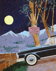 """My goodness, Mr. Bigelow, you are inspired!"" Illustration by Ben Denison for Playboy, May 1962 (Tom Simpson) Tags: moon car illustration night vintage painting playboy 1960s 1962 bendenison"