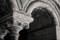 Cloister (Lord Markus) Tags: old italy white black abbey sepia italian ancient nikon italia arch pillar wideangle piemonte monastery convento column cloister arco decayed chiostro colonna langhe abbazia vezzolano d300s