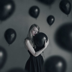 Embrace (Abby Kroke) Tags: people woman black girl face lady dark balloons person death eyelashes dress emotion balloon indoors human concept emotional conceptual embrace