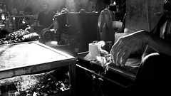 The Smoking (erikjnainggolan) Tags: cigarette smoke smoking break rest time out black white n monochrome jakarta olympus omd gem stone