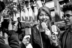Yummy (hector_cbs) Tags: street people blackandwhite byn blancoynegro ice girl monochrome fun blackwhite yummy funny candid cream streetphotography icecream monocromatic enjoying