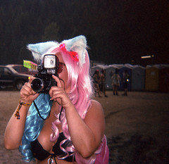 Shamb 2014: Babe Photographer (christait) Tags: music woman girl festival holga pretty photographer bc farm hellokitty ears nelson babe diana wig shambhala rosanna 2014 120cfn antiportrait kodakportra160