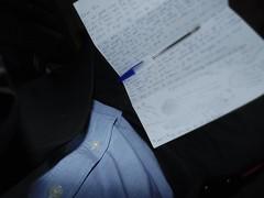 Brief Freundin (Massimo Gerardi) Tags: blue white black azul pen noir mail bottom ami blatt maison papier blazer veste lettera papar bic chemise penpals kugelschreiber littre brieffreundin