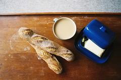 England (austdocoartist) Tags: tea homemade butter baguette butterdish