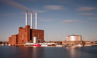 Svanemølle power plant in morning sun