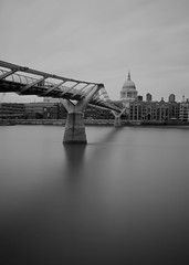 Millenium bridge London (Dick Bulch) Tags: white black london fuji x milleniumbridge 100 stpaulscathedral riverthames cityoflondon nd400
