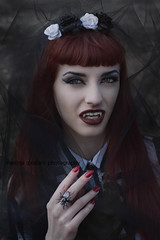 Vampyria (martina.spoljaric1989) Tags: red portrait woman girl bride glamour veil emotion expression vampire stripes gothic goth makeup redhead expressive lipstick retouch emotive vamp fashio