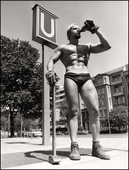 1973 Berlin Bauarbeiter (Harald Haefker) Tags: gay summer man hot berlin beer hammer vintage germany naked deutschland boots muscle drinking homoerotic blond german blonde half ubahn worker bier mann bodybuilder queer bau 1973 beefcake deutsch bulge deutsche bauarbeiter stiefel arbeiter spichernstrasse homoerotisch