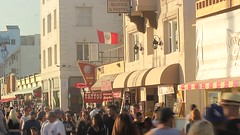 Crowded Beach (Sam Wagner Photography) Tags: california santa travel venice sunset summer vacation people hot beach walking happy timelapse sunday sunny monica crowds