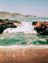 Point Lobos South Shore (Markus Jork) Tags: film beach rollei xpro lomography wave slide peacock shore a110