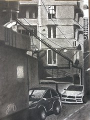Urban Scene, Charcoal Study, 18x24, Josh Martinez. (Cavalier Art RM 204) Tags: graphite self portrait student art selfie expression expressive selfportrait charcoal cityscape nocturne watercolor automotive painting acrylic oils oilpaint acrylicpaint tempra posterized high contrast surreal people indoor line quality linequality linedrawing okura cavs cavalier cavaliers santiago shs room 204 rm204 rm