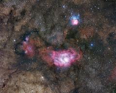 M8 and M20 - The Lagoon and Trifid Nebula (James Shimoji Photography) Tags: star space astro sagittarius nebula astrophotography m8 cosmos m20 lagoonnebula trifidnebula fsq106ed astrometrydotnet:status=solved qhy16200a astrometrydotnet:id=nova1559225