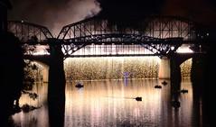 Wall of Light (Roland 22) Tags: fireworks walnutstreetbridge marketstreetbridge reflection flickr chattanoogatennessee tennesseeriver