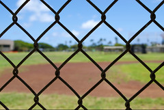 Baseball Field and Fence (Forever Rambling) Tags: field bench focus baseball oahu perspective
