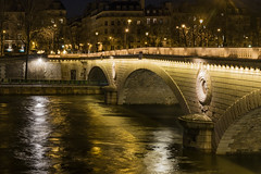 It is not good to cross the bridge before you get to it. (dorablancoheras) Tags: bridge cross puente cruzar planeta planet outside fuera ciudad city paris night noche golden dorado ineresting interesante canonphoto reflection reflejo luz light orange naranja travel viaje water agua river ro