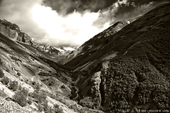 Valley at Torres Del Paine (Priscila de Cássia) Tags: chile wild blackandwhite bw patagonia naturaleza mountains nature sepia landscape nikon wildlife natureza valley torresdelpaine wilderness torresdelpainenationalpark nikond90