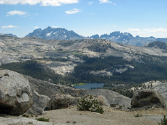 View of McClure Lake and Ritter Range from trail to Post Peak Pass (kennsrempel) Tags: anseladamswilderness mcclurelakesmaderacountycalifornia ritterrangemaderacountycalifornia