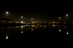 Cumberland Basin (Ged Slaughter Photography) Tags: cumberland cumberlandbasin water harbourside bristol gedslaughter night nightscape receding lines