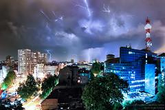 Lightning storm (Boris Mrdja) Tags: city longexposure blue light sky storm nature skyline night clouds skyscape landscape cityscape serbia stormy lightning belgrade rts beograd thunder noc srbija nocna nocne tasmajdan nocu
