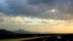 Look Ahead (Khaled M. K. HEGAZY) Tags: road blue sky cloud brown white mountain black nature car yellow closeup nikon outdoor coolpix ksa kingdomofsaudiarabia p520