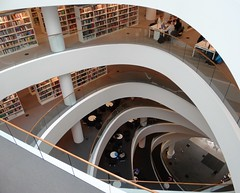 Spirals (Ian Robin Jackson) Tags: aberdeenuniversitylibrary library scotland aberdeenuniversity university books aberdeen scottishlibraries scottisharchitecture modernarchitecture ight people sony bridgecamera bookshelves tables lines explore inexplore thesirduncanricelibrary scmidthammerlassen danisharchitecture danish design moderndesign scandinavian architecture scandinavianarchitecture wow students scottishbuildings shapes education universities reading placestoseeinscotland aberdeenshirearchitecture