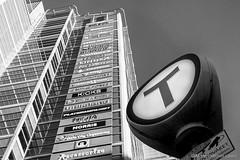 The Tube (Morten Mitchell Larød) Tags: streetphography streetphoto facade tbanen subway blackwhite oslo monochrome skilt urban bw niksilverefex fasade oslocity streettogs metro sign norway no